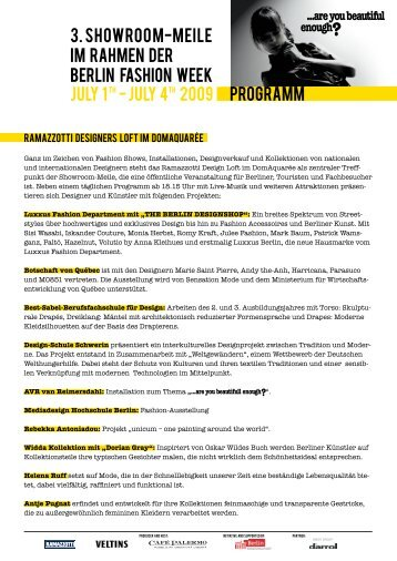 3. SHOWROO M-mEILE IM Rahmen der BERLIN FASHION WEEK ...