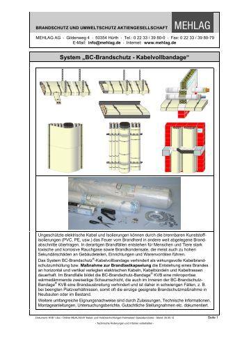 """System """"BC-Brandschutz-Kabelvollbandage"""" - bei der MEHLAG AG"""