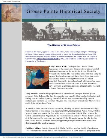 GPHS - History of Grosse Pointe - Grosse Pointe Historical Society