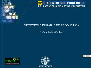 "métropole durable de production "" la ville batie "" - Syntec ingenierie"
