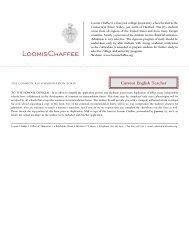 Current English Teacher - The Loomis Chaffee School