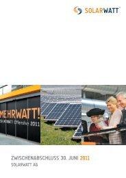 zwischenabschluss 30. Juni 2011 - Solarwatt