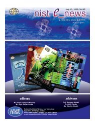 NIST e-NEWS(Vol 63, JUL 15, 2009) Special Edition