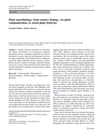 Plant neurobiology: from sensory biology, via plant ... - LINV