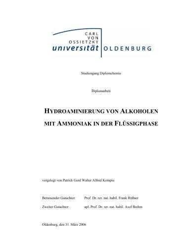 Hydroaminierung von Alkoholen mit Ammoniak in der Flüssigphase