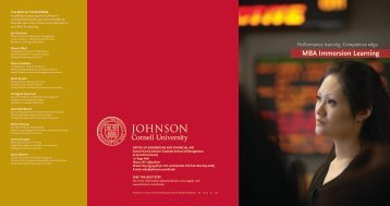 MBA Immersion Learning - Johnson Graduate School of ...