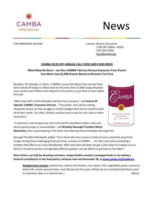 CAMBA KICKS OFF ANNUAL FALL FOOD AND FUND DRIVE