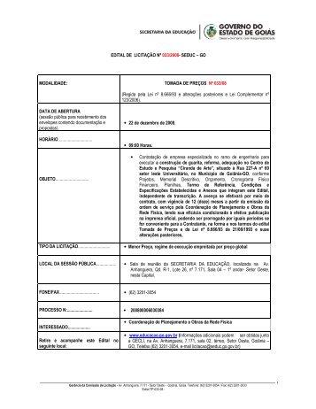 Edital - Secretaria da Educação do Estado de Goiás
