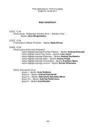 Plan sędziowania / Plan of judging SOBOTA, 24.09.2011 RING ...