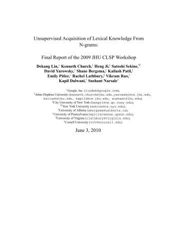 Unsupervised Acquisition of Lexical Knowledge From N ... - CiteSeerX