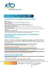 KTO Programmes du 15 au 21 mars