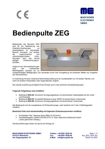 Bedienpulte ZEG - Me Gmbh
