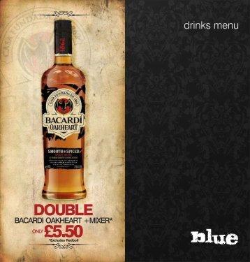 drinks menu - Blue Bar Liverpool
