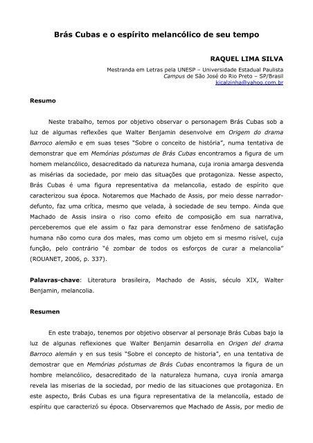 Brás Cubas e o espírito melancólico de seu tempo - Raquel Lima Silva
