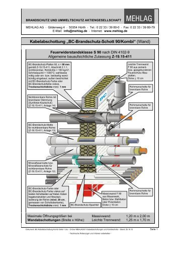 BC-Brandschutz-Schott 90/Kombi - bei der MEHLAG AG