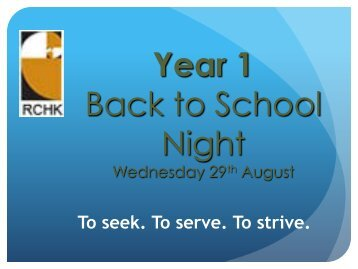 Year 1 Back to School Night 2012 Presentation