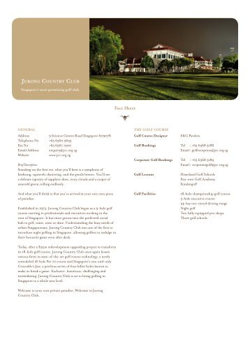 Fact Sheet - Jurong Country Club