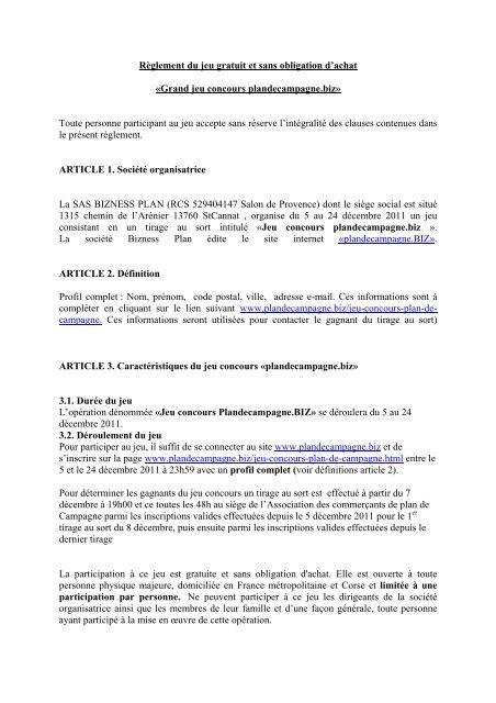 Concours Gratuit Sans Obligation D Achat Plan De Campagne Biz