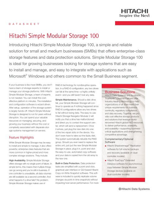 Hitachi Simple Modular Storage 100 MaxData