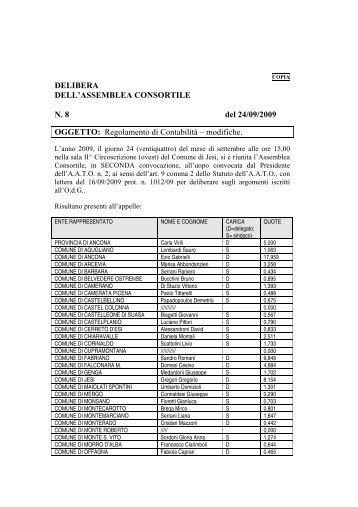 DELIBERA DELL'ASSEMBLEA CONSORTILE N. 8 del 24/09/2009 ...