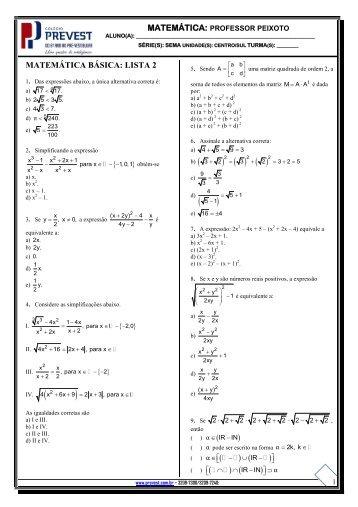 MATEMÁTICA BÁSICA: LISTA 2 ( )