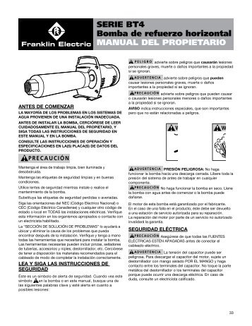 MANUAL DEL PROPIETARIO SERIE BT4 Bomba ... - Franklin Electric