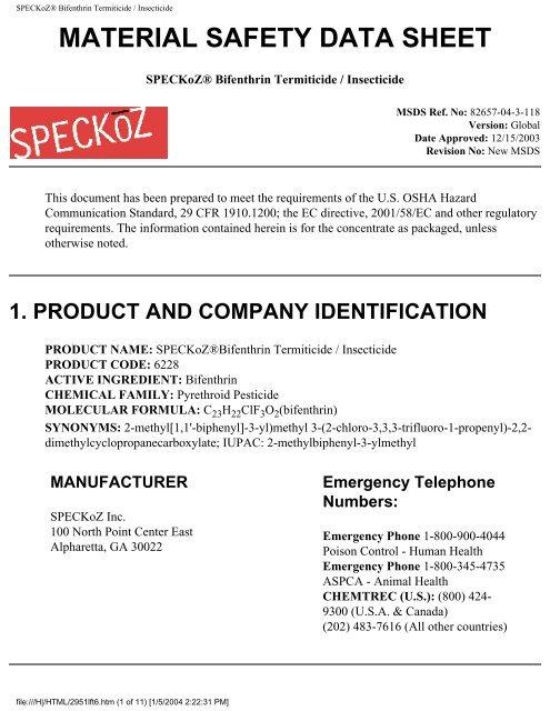 SPECKoZ® Bifenthrin Termiticide / Insecticide