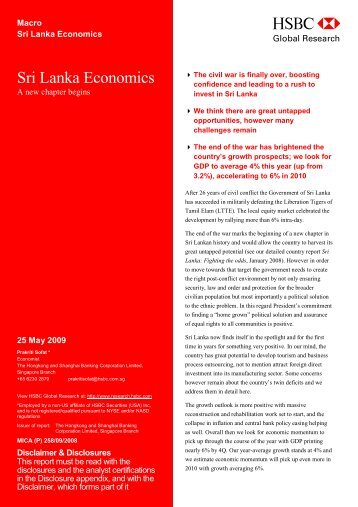 Sri Lanka Economics-A new chapter begins - Ravana