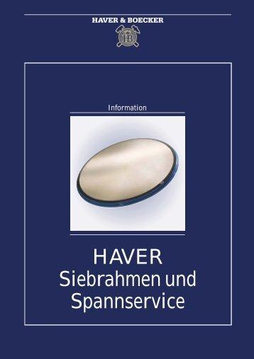 HAVER Siebrahmen und Spannservice - Haver & Boecker