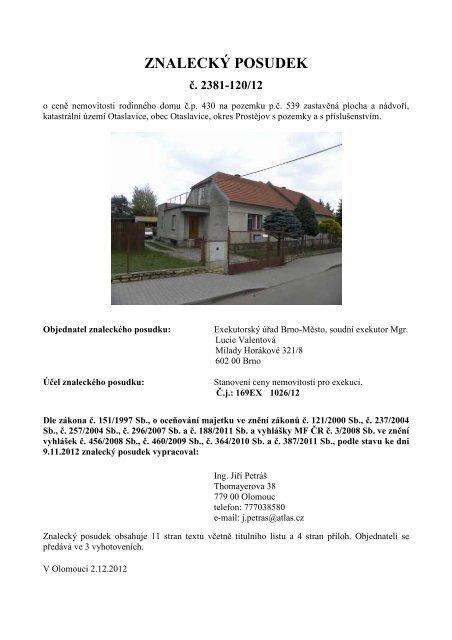 Znalecký posudek č. 2381-120/12 - OKdrazby.cz