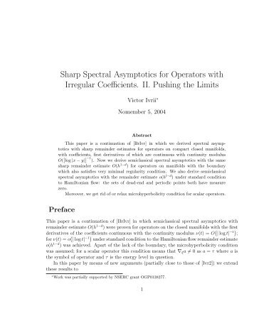 Sharp Spectral Asymptotics for Operators with Irregular ... - Victor Ivrii