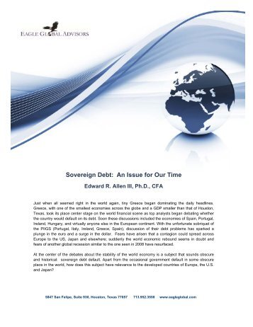 Sovereign Debt: An Issue for Our Time - Eagle Global Advisors