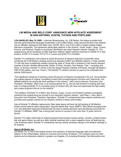 lbi media and belo corp  announce new affiliate agreement in
