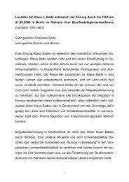 Laudatio für Klaus J. Bade anlässlich der Ehrung durch die TGD am ...
