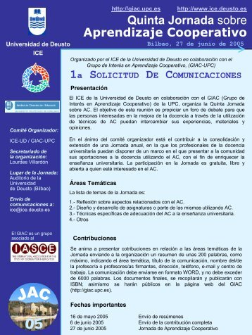 Quinta Jornada sobre Aprendizaje Cooperativo - UPC