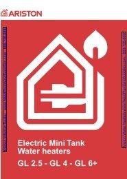 Electric Mini Tank Water heaters GL 2.5 - GL 4 - GL 6+