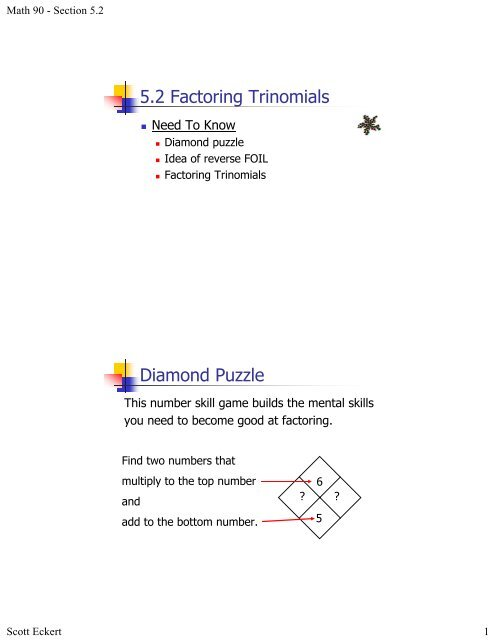 5 2 Factoring Trinomials Diamond Puzzle
