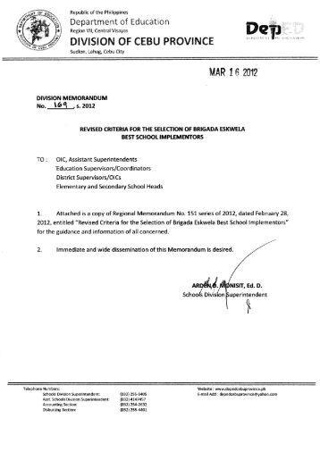 Memo No. 169, S. 2012 - DepEd Cebu Province