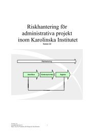 Riskhantering för administrativa projekt inom Karolinska Institutet