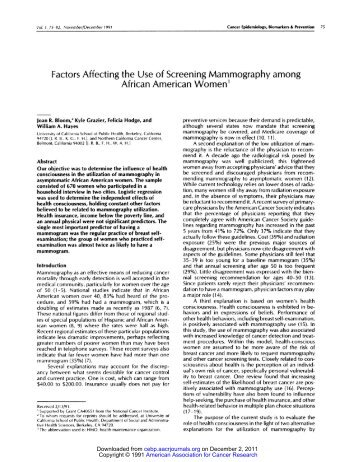 Factors affecting the use of screening mammography among African ...