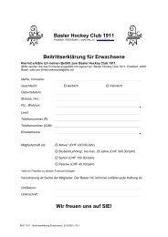 Beitrittserklärung für Erwachsene - Basler HC