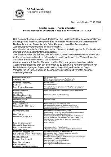 RC Bad Hersfeld Rotarischer Berufsdienst - Rotary Club Bad Hersfeld