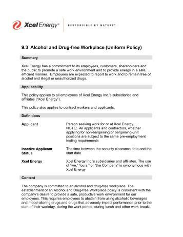 Drug and alcohol policy template for Drug free workplace policy template