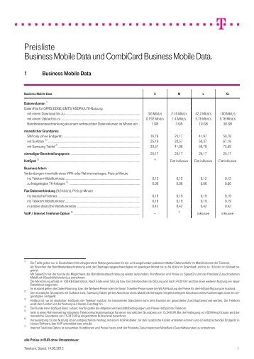 Preisliste Business Mobile Data und Combicard Business Mobile ...