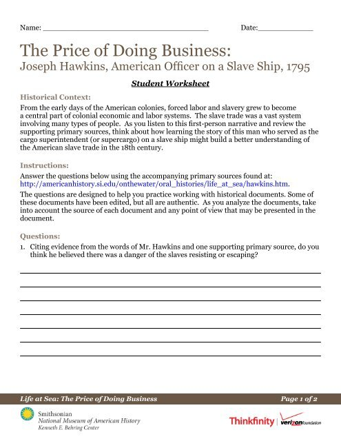 Download The Student Worksheet For Joseph Hawkins Pdf