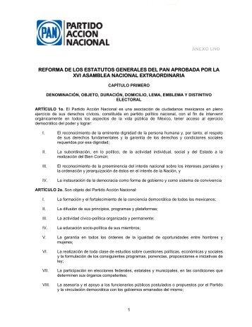 REFORMA DE LOS ESTATUTOS GENERALES DEL PAN ... - Pan DF