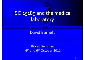 ISO 15189 and the medical laboratory - QCNet