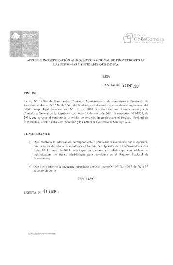 Resolución Proveedores Inscritos Diciembre 2012 - Chileproveedores