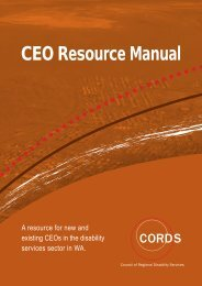 CORDS CEO Manual - Disability Services Commission
