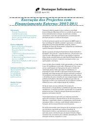 Execução dos Projectos com Financiamento Externo: 2007-2011
